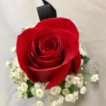 Red Rose Boutonniere,Black Tab, with Filler