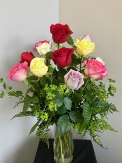 Dozen Colored Roses Vased