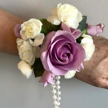 Lavender and White Pearls Wrist Corsage