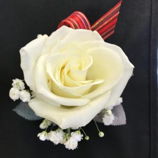 White Rose Boutonniere with Red Stripe Tab