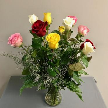 Dozen Mixed Roses Arranged with Filler