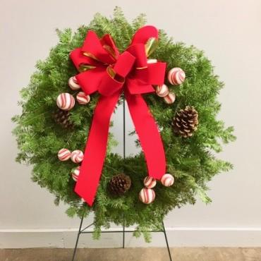 Wreath with Red Velvet Bow Trimmed