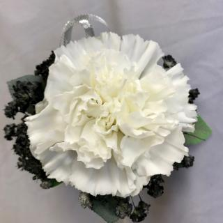 White Carnation Boutonniere with silver tab and filler
